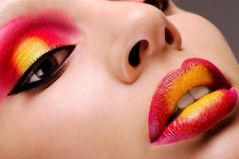 Beauty Makeup Red and Yellow Eyes Lips